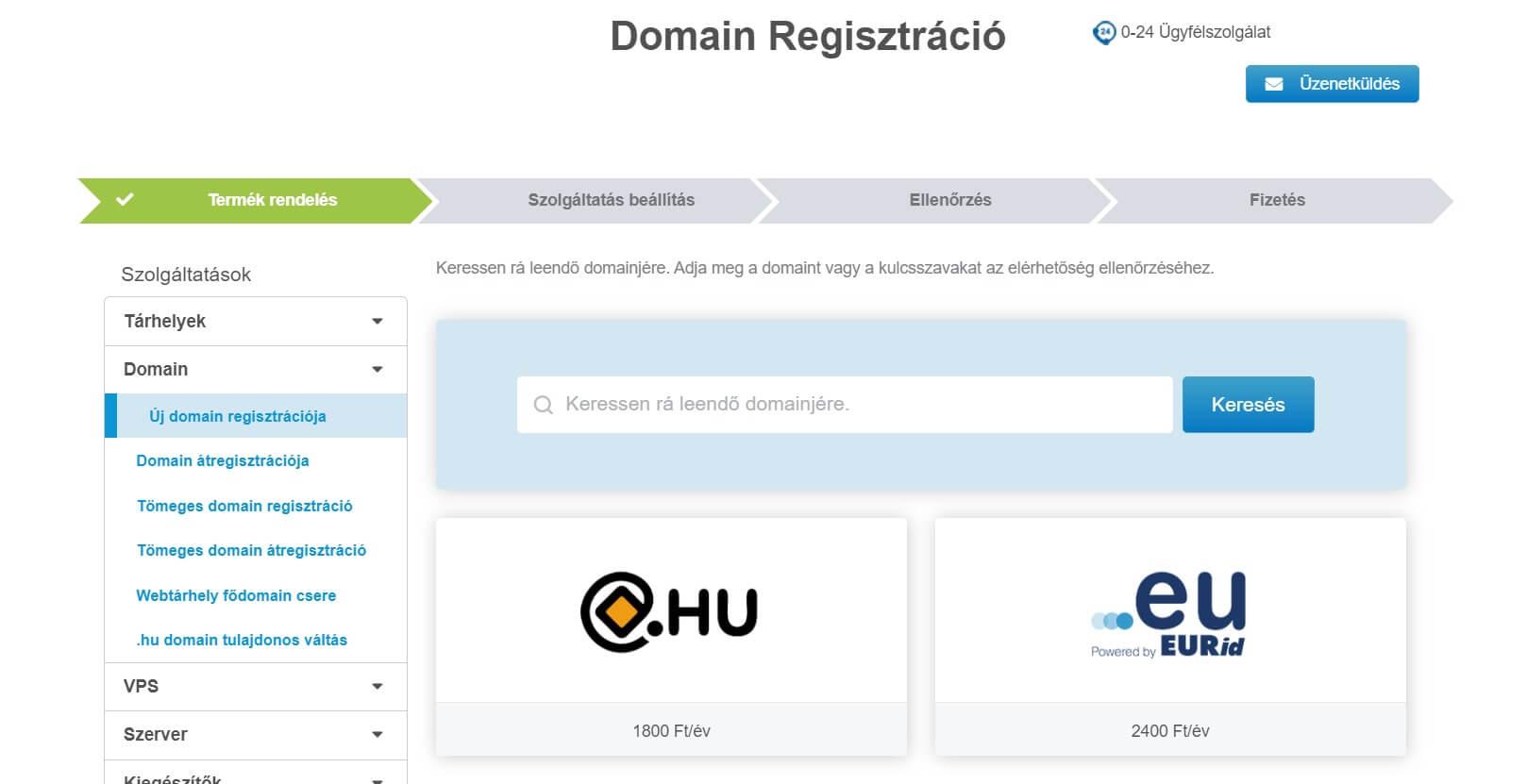 domain regisztráció weboldal készítéshez